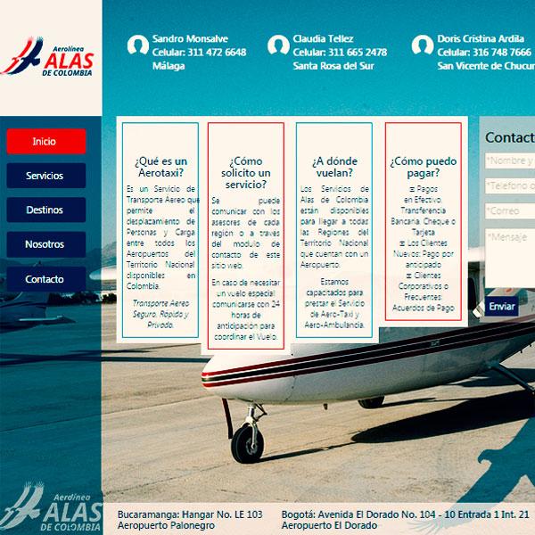 Web Aerolinea Alas Colombia